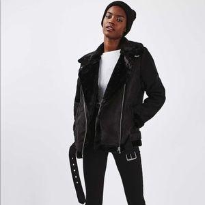 Topshop Oversized Shearling Moto Jacket